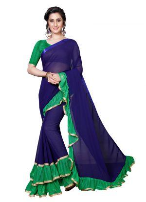 Green Georgette Solid Indian Designer Saree