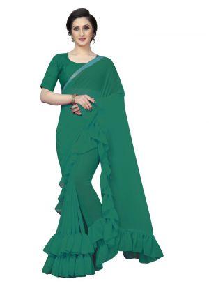 Green Georgette Solid Party Wear Designer Ruffle Saree