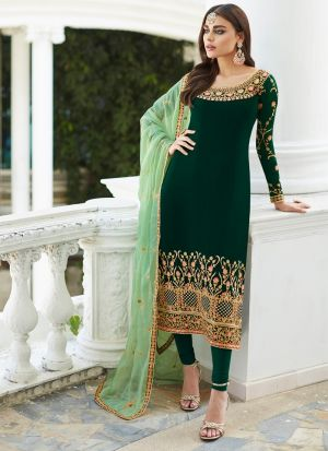 Green Georgette Staight Cut Suits For Party