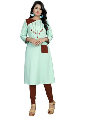 Green Hand Work Stylish Pocket Button Kurti