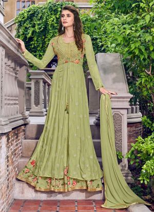 Green Jacquard Latest Design Designer Suit For Party