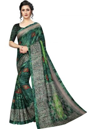 Green Printed Jute Silk Saree
