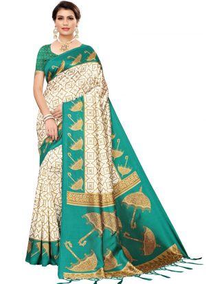 Green Printed Latest Indian Saree
