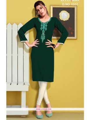 Green Rayon Embroidered Heavy Designer kurti