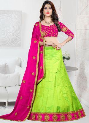 Green Sana Silk Zari Work Designer Lehenga Choli
