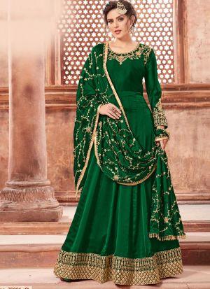Green Satin Georgette Eid Collection Salwar Suit