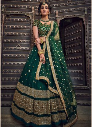 Green Soft Net Lehenga Choli For Women