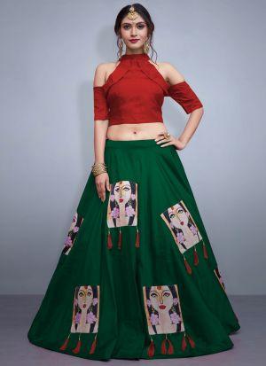 Green Tafetta Silk Volume 8 Bride Maids Indian Lehenga Choli