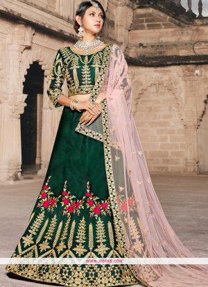 Green Thread Work Taffeta Designer Lehenga Choli