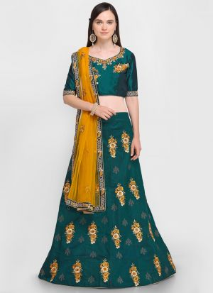 Green Velvet Silk Indian Wedding Lehenga Choli