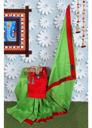 Green Zoya Silk Solid Trendy Designer Saree
