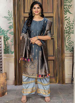 Grey Banarasi Jacquard Pakistani Salwar Suit