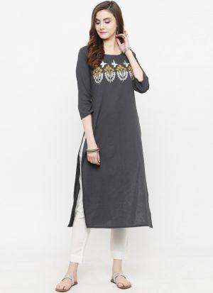 Grey Cotton Blend Designer Kurti For Girls