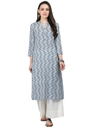 Grey Cotton Designer Kurtis For Girl