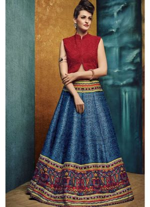 Grey Embroidered Bhagalpuri Print Fabric Bridal Designer Lehenga With Net Dupatta