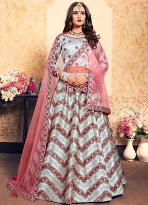 Grey Embroidered Designer Bridal Lehenga Choli