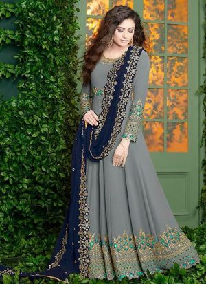 Grey Foux Georgette Designer Floor Lenth Salwar Suit