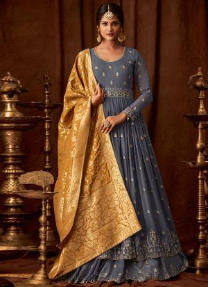 38d7268e549 ... Grey Georgette Embroidered Wedding Anarkali Suit