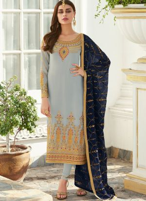 Grey Georgette Staight Cut Suits For Party