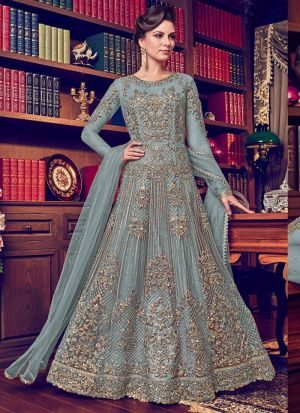 Grey Heavy Net Designer Floor Length Salwar Suit