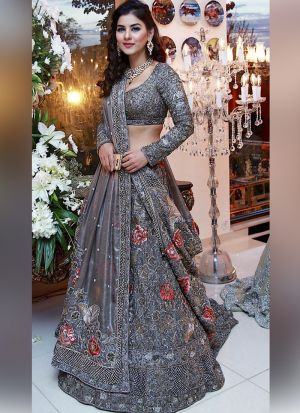 Grey Naylon Net Partywear Designer Lehenga With Hand Work