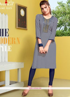 Grey Rayon Embroidered Heavy Designer kurti