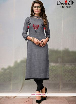 Grey Rayon Plain Heavy Designer kurti
