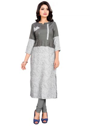Grey Rayon Plain Latest Designs Casual Kurti