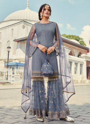 Grey Sharara Suit For Wedding In Net Fabric