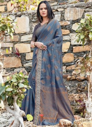 Grey South Indian Cotton Handloom Designer Saree