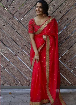 Groovy Red Sequence Dori Work Saree