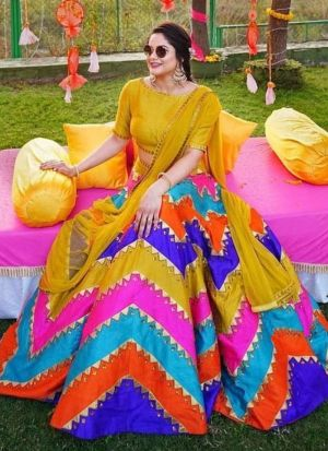 Haldi Wear Multi Color Gota Silk Mirror Paper Work Lehenga Choli