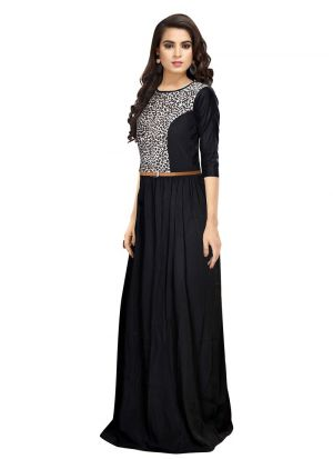Half Sleeve Black Party Wear Gown