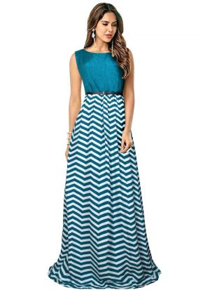 Half Sleeve Green Party Wear Gown
