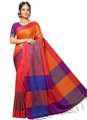 Handloom Chex Silk Multi Color Indian Traditional Saree