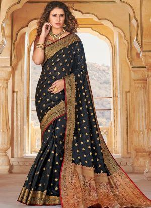 Handloom Silk Black Indian Wear Saree