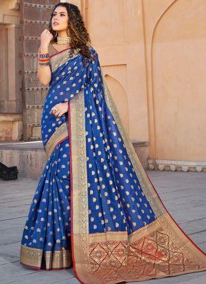 Handloom Silk Blue Indian Wear Saree