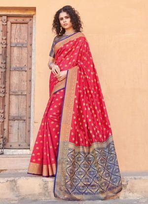 Handloom Silk Red South Indian Saree