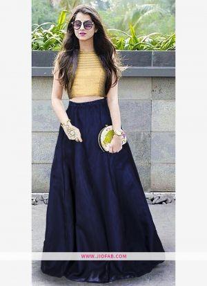 Heavy Bangalory Silk Blue Anarkali Lehenga