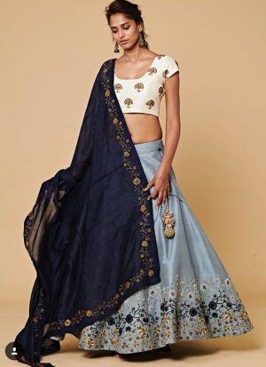 Heavy Embroidery Sky Blue Traditional Lehenga Choli For Diwali Celebration