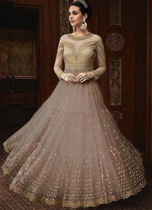 Heavy Net Brown Designer Anarkali Salwar Suit