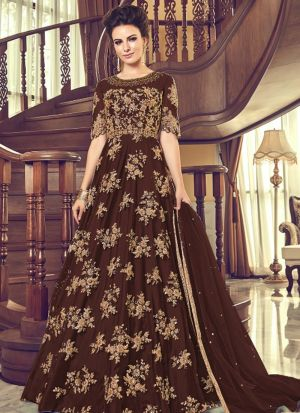 Heavy Net Dark Brown Designer Floor Lenth Salwar Suit