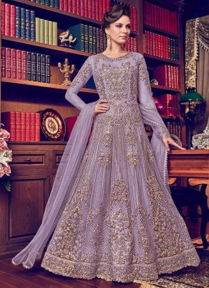 Heavy Net Lavender Color Designer Floor Length Salwar Suit