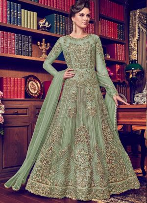 Heavy Net Parrot Designer Floor Length Salwar Suit