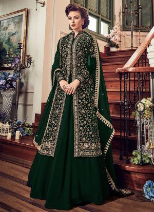 b823381daa0 ... High Quality New Arrival Velvet Green Anarkali With Jacket