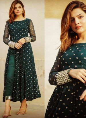 Highly Demanded Dark Green Thread Work Slit Cut Salwar Suit