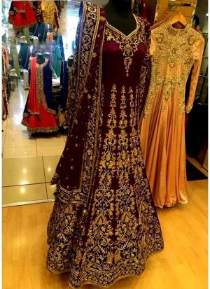 Higly Demanded Maroon Banglori Silk Embroidered Bridal Lehenga Choli With Mono Net Dupatta
