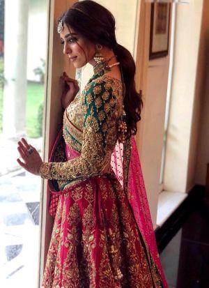Higly Demanded Pink Kerala Silk Embroidered Bridal Lehenga Choli With Mono Net Dupatta