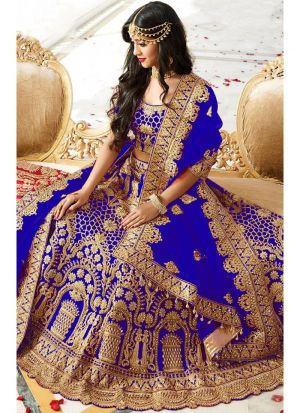 Higly Demanded Royal Blue Banglori Silk Embroidered Bridal Lehenga Choli With Mono Net Dupatta