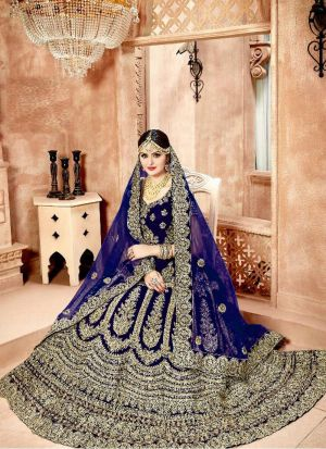 Higly Demanded Royal Blue Velvet Diamond Work Bridal Lehenga Choli With Mono Net Dupatta